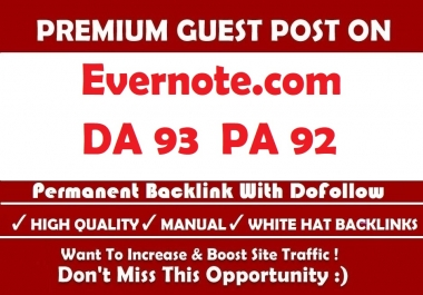 Write And Publish Your High DA 93 Unique Evernote Guest Post