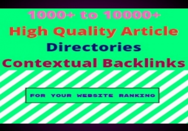 I will 1000 article directories high quality backlinks