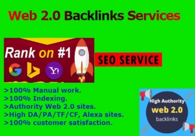 I will create 40 high authority web 2.0 backlinks for google ranking