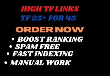 Add create 350 High-Quality TF 25+ HQ Dofollow homepage SEO Backlinks