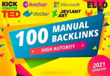 100 SEO manual link building dofollow profile backlinks high da tf cf white hat