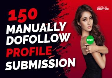 I will manually create 150 dofollow profile backlinks for google top ranking