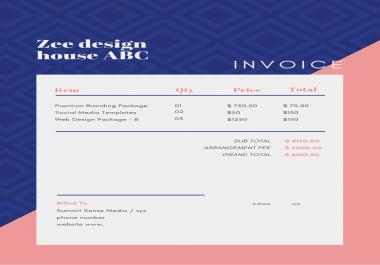 design best invoice, receipt, any type of letterhead