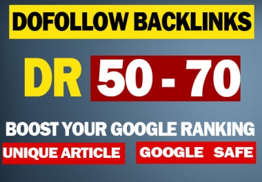 I will build 50 high authority DR 50 to 70 dofollow backlinks off page seo