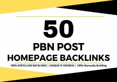 I will create 50 homepage seo backlinks da 20 to 60