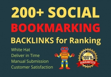 Build 200+ high da social bookmark backlinks for Ranking