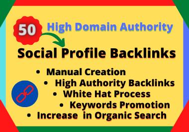 I will create your brand name DA70+ do-follow 50 social profile backlinks