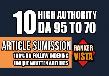 publish 10 Guest post on high quality DA 80+ Dofollow backlinks