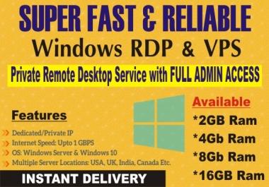Provide Windows Vps & Rdp 4GB Ram For 30 Days