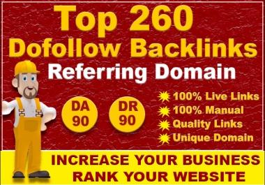 provide manual white hat 260 dofollow seo backlinks for website ranking
