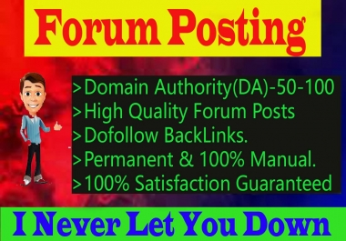 I will Create 70 High Quality Forum Posting Backlinks for Website Ranking