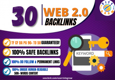 I will Build 30 Web 2 0 Manual Contextual DoFollow Backlinks