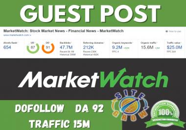 I will Publish Guest Post on Marketwatch. com DA92 DoFollow Traffic 15 Million