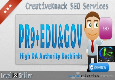 40+ PR9 Backlinks with 10+ .EDU/.GOV Authority Backlinks only