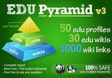create a super edu pyramid with 60 edu backlinks and 500 wikis@@!