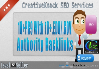 10+ PR9 Backlinks with 10+. EDU/. GOV Authority Backlinks only