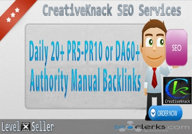 Daily 20+ PR5-PR10 or DA60+ Authority Manual Backlinks To Rank Google 1st Page