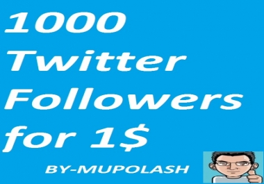 Increase 1000 Twltter Followers which are doing by real & active  user as Cheep rates