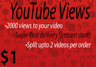 2000+ High Quality Youtube Vie ws Fast delivery