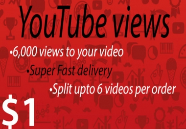 1000 views to your Youtube video [Super Fast delivery] 80 - 90% Retention