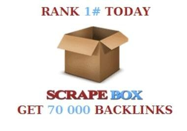 """do a scrapebox blast of 70000 guaranteed blog comments backlinks, unlimited urls/keywords allowed """