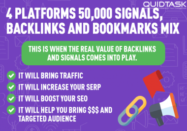 4 Platforms 50,000 SIGNALS, BACKLINKS and BOOKMARKS SEO Mix