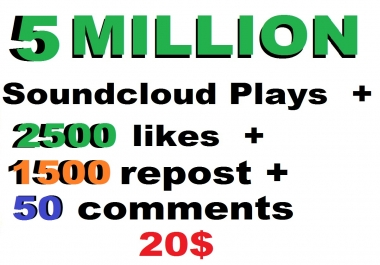 5m soundcloud plays and  2500 soundclud likes and 1500 repost  and 50 comments