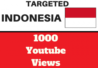 Added 1,000 INDONESIA Targeted Youtube Views