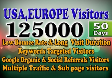 Drive low bounce rate USA,Europe targeted website traffic visit with 50 days
