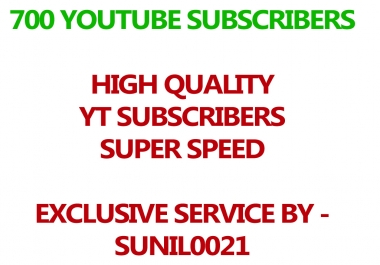 Real 700 Youtube Subs cribers