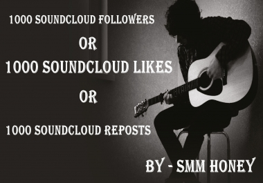 Give U 1000+ SOUND CLOUD Followers Or Likes Or Reposts for $5