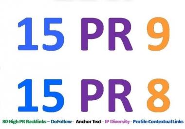 Prepare 30 PR8 or above backlinks for your website