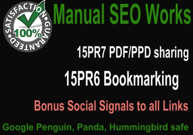 Create Hummingbird safe 15 PR7 PDF submission and 15 PR6 Social Bookmarking