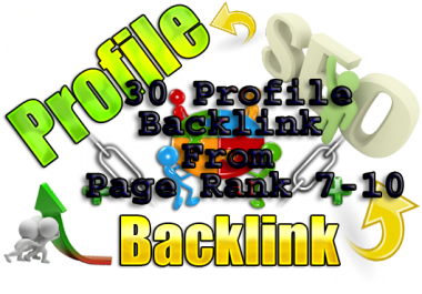 Create 30 Profile Backlinks for your site from 30 High page Rank (PR7-10) and High Authority Site