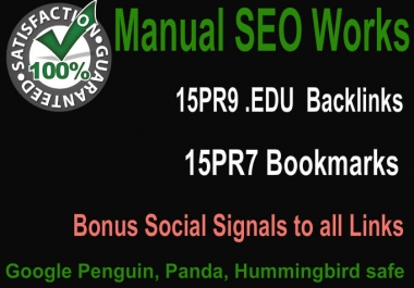 Create Hummingbird safe 15 PR9 Edu Gov backlinks and 15 PR8 Social Bookmarks