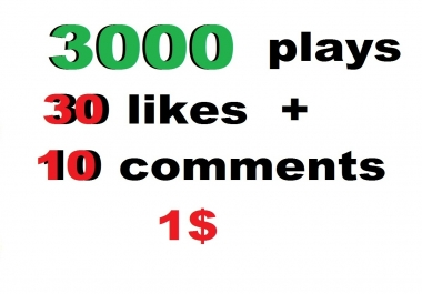 3000 USA soundcloud plays 30 likes 10 comments just 24 hour  or 150 soundcloud likes or 150 followers