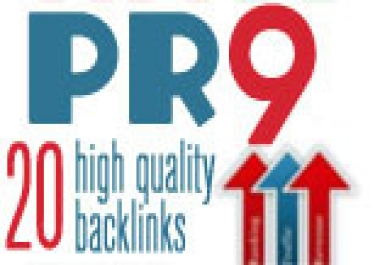 create you 20 ? PR9 backlinks from 20 different PR 9 high authority sites [ DoFollow, Anchor Text, Panda Penguin Frindly ] + pinging