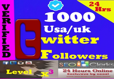 Cheapest 1000+ HQ USA-UK-Japan Twitter Followers