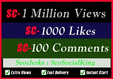 One Million SC Non Drop Video Play Promotion OR 1000 Likes OR 100 Comments