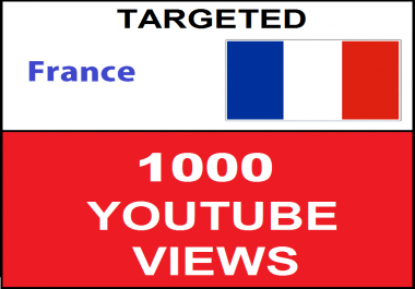 Added 1,000 FRANCE Targeted Youtube Views