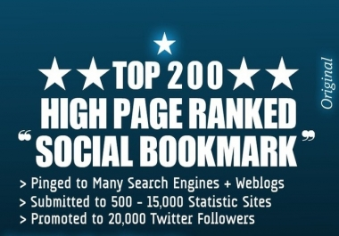 blast ur website to TOP 200++ social bookmarking sites to get high google seo