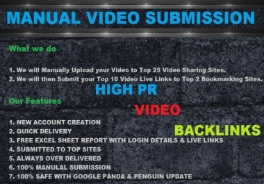 make a Manual Video Submission on 25 Video Sharing Sites from PR9, Bookmarking