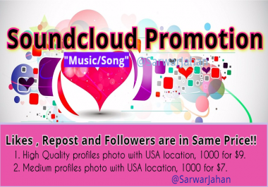 Add 2500 Soundcloud Likes and 500 Reposts ; High Quality USA Location, Profile photo attached