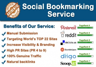 maNUALLY do social bookmarking in top 22 sites PR4 to PR9