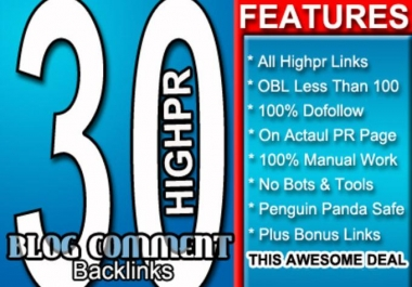 do Manually LowOBL 30 Blog Comment 5xPR5 5xPR4 10xPR3 10xPR2 Dofollow Backlinks