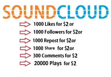 SoundCloud 1000 Likes or 1000 Followers or 1000 Repost or 1000 share or 20000 play 300 Comments