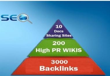 do seo linkpyramid 10 docs or pdf sharing sites, 200 high pr wiki 3000 backlinks