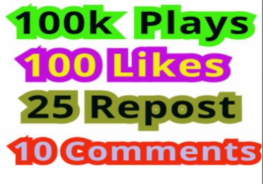 Get 100000 Plays,100 Non-Drop Likes,25 Repost