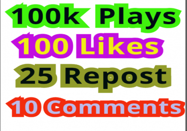 100,000 Soundcloud  Plays 100  Likes 25 Repost 10 Comments
