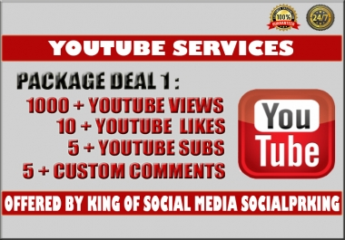 I will give you 1000 - 1300+ YT Video views+ 10 yt likes, 5 subs and 5 custom comments